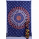Indian Beautiful Peacock Mandala Hippe Hop Bedspread Twin Wall Hanging Tapestry