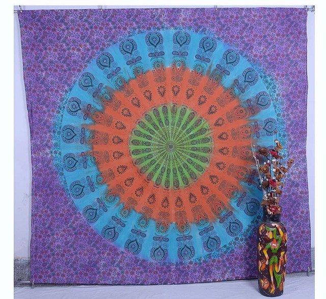 Indian Handmade Mandala Bedspread Bohemian Wall Hanging Tapestry Table Cloth Art