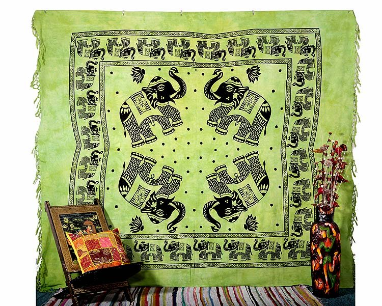 INDIAN GREEN ELEPHANT BEDSPREAD COVERLET WALL HANGING TAPESTRY BEDSHEET DECOR