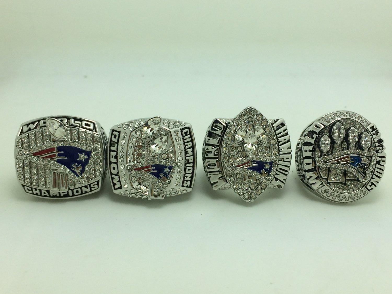 A Set New England Patriots XXXVI XXXVIII XXXIX XLIX Super bowl championship rings 4 PCS size 11