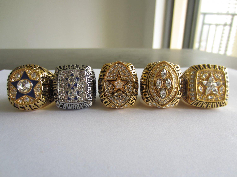 A Set Dallas Cowboys VI XII XXVII XXVIII XXX Super bowl championship rings 5 PCS size 11