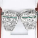 2PCS 2017 2018 Philadelphia Eagles LII Super Bowl Championship rings WENTZ + FOLES Size 11
