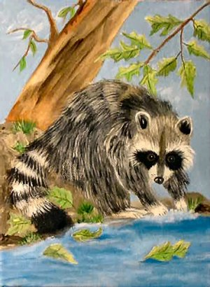 Raccoon, 9x12, ready to hang