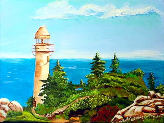 Summer Lighthouse, 12 x 16 ready to hang