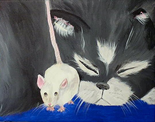 Cat and Mouse, ready to hang