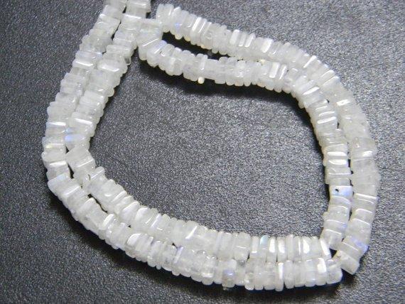 Rainbow Moonstone Square Heishi Cut Beads 16 inch strand 5 mm approx