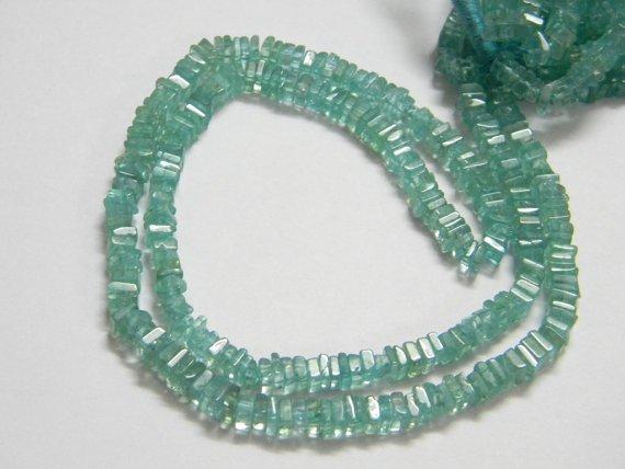 Aqua Apatite Square Heishi Cut Beads 16 inch strand 4 mm approx