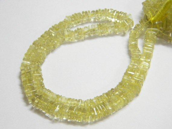 Lemon Quartz Square Heishi Cut Beads 16 inch strand 5 - 6 mm approx
