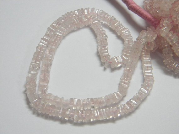 Rose Quartz Square Heishi Cut Beads 16 inch strand 5 mm approx