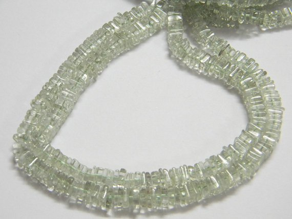 Green Amethyst Square Heishi Cut Beads 16 inch strand 5 mm approx