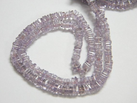 Pink Amethyst Square Heishi Cut Beads 16 inch strand 5 mm approx