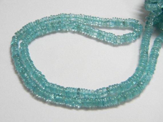 Aqua Apatite Tyre Heishi Cut Beads 16 inch strand 4.5 - 5 mm approx