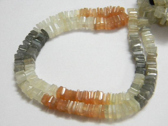 Multi Moonstone Square Heishi Cut Beads 16 inch strand 5.5- 6 mm approx
