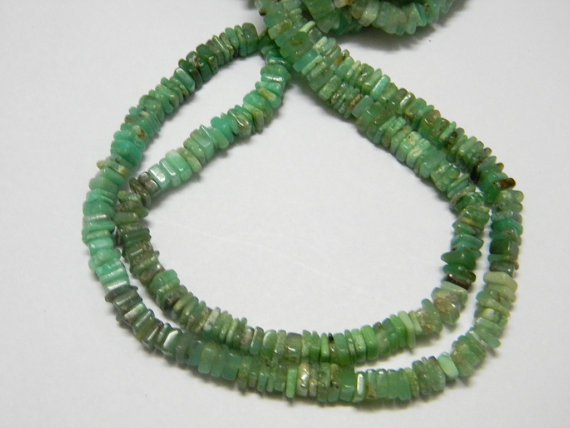 Chrysoprase Square Heishi Cut Beads 16 inch strand 5 mm approx