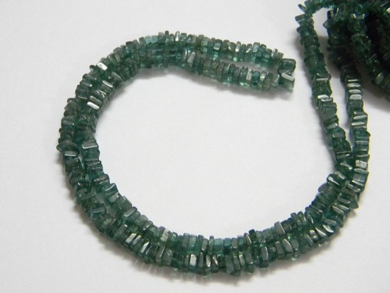 Green Apatite Square Heishi Cut Beads 16 inch strand 4 mm approx
