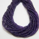 AAA Quality African Amethyst Micro Faceted Roundell 14 inch strand 3 - 3.5 mm approx