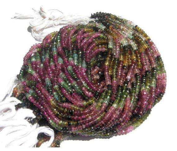 Multi Tourmaline Micro Faceted Roundell 14 inch strand 3 - 3.5 mm approx