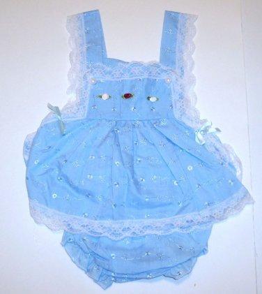 """Sunnie Annie's Sundress,""""KC BABY"""", 3/6M, Blue, 100% cotton"""