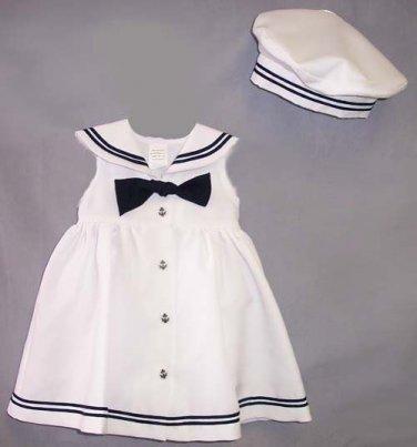 Girl's Sleeveless Nautical Dress with Hat, 18 M