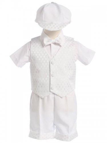 LITO Diamond Vest & Shorts Set with Hat, White, 2T