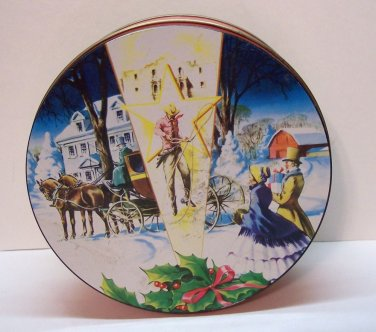 """Christmas Tin from Texas Red with a Multi Colored top. Size 7"""" x -2 1/2"""""""