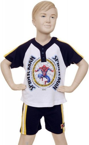 Marvel Spider Man Short Set (2 PC), Size 3T, logo on shirt, Navy shorts