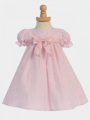LITO Girls Striped Seersucker Dress, Pink, 12-18 M, Made in USA