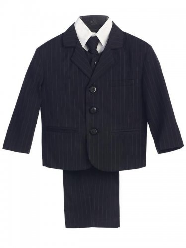 LITO Boys Black Pinstriped Suit, 4T