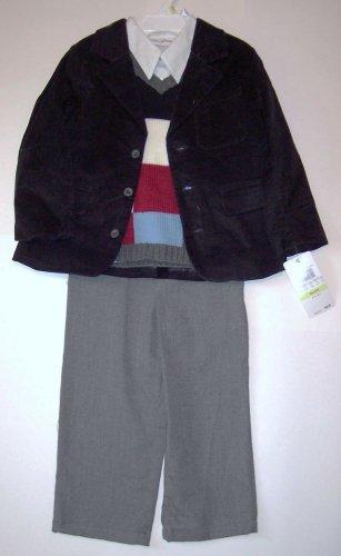 BLAZER-SWEATER-PANTS SET (4 PC) 3T, Corduroy Blazer,Shirt,Sweater, Flannel Pants