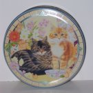 Decorative Round Tin, Kittens and Flowers, 2 x 6.5 in