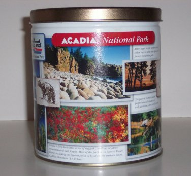 Trails End National Park advertising tin, 6 in X 5.25 in Dia, Multi-colored