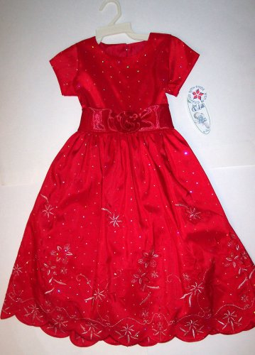 LITO EMBROIDERED RED TAFFETA HOLIDAY DRESS WITH SPARKLES, 4T