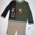 SWEATER SET (3 PC) 4T, color blocked olive and brown sweater, Bulldog