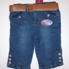 "Denim Belted Capri, size 6X, ""JEANIE BLEU"", Pedal pusher style, stretch denim"
