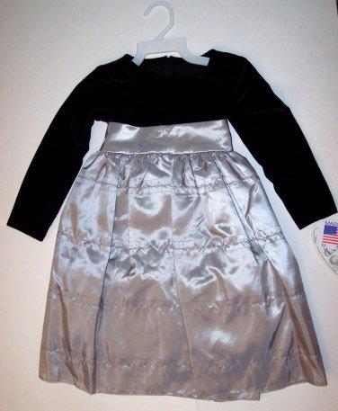LITO STRETCH VELVET BODICE WITH RUFFLED TAFFETA SKIRT HOLIDAY DRESS, 2T