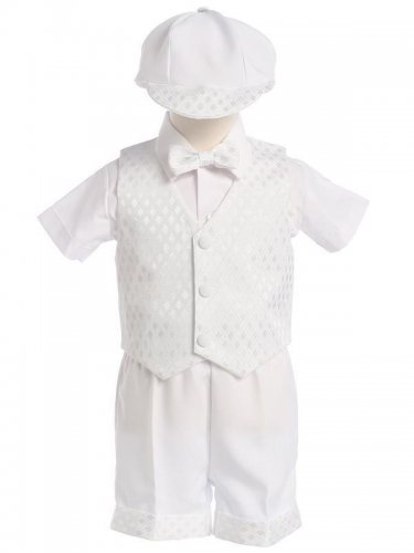 LITO Diamond Vest & Shorts Set with Hat, White, Large (9-12 M)