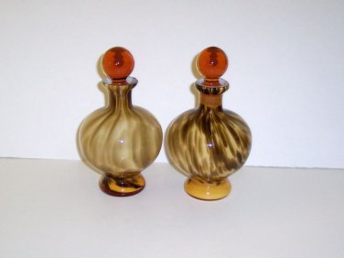 """Perfume Bottles, Brown Tiger Striped, Amber Stoppers,Size 7"""" h base 2""""."""