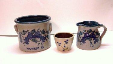Modern Glazed Salt Stoneware, 3 pieces, Decorated Blue & Green