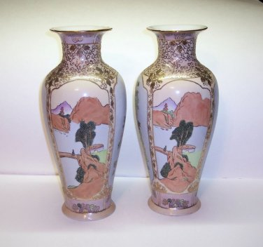 "Reproduction Nippon hand painted Vases,Multi colored trimmed in gold, 12""h,"