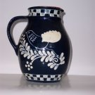 Stoneware Pottery Redware Pottery Pitcher, 9.5 inches, Decorated Blue glaze