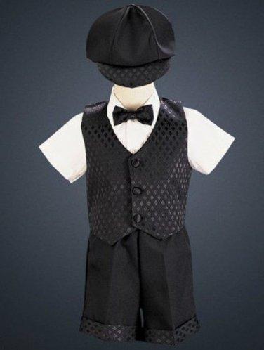LITO Diamond Vest & Shorts Set with Hat, Black, 4T