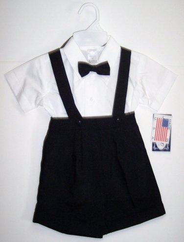 LITO Boys Dressy Suspenders & Shorts with Cap, Black, 18-24 M