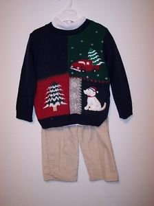 Christmas Tree & Doggie Sweater Set (3 PC), Green, 4T