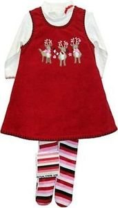 Reindeer Jumper Set with tights , Red, 18 M