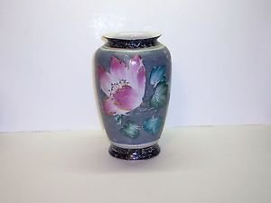 """Vase Hand Painted. Color Gray. Green,Lavender White 10""""h 3""""at Mouth."""
