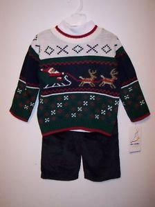 Santa's Sleigh and Reindeer Sweater Set, Green, 3T