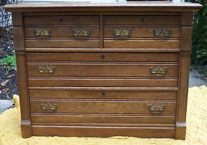 "Antique Oak Chest of Drawers, 4 drawer, 42"" X 20"" X 32"""