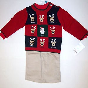 Reindeer Sweater Set (3 PC), Red, 18M