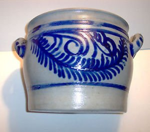 "Salt Glazed Stoneware Crock with Handles, Cobalt blue designs, 9"" High, 10"" Dia."