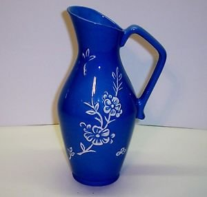 "Stengl Pitcher Blue Appliqued with White dasies. 8"" H"